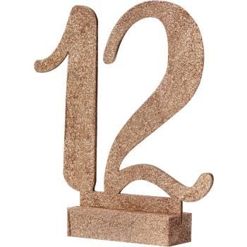 Tischnummern 1 - 12 Roségold Glitzer