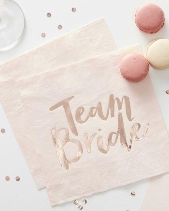 Team Bride Servietten Rose Gold