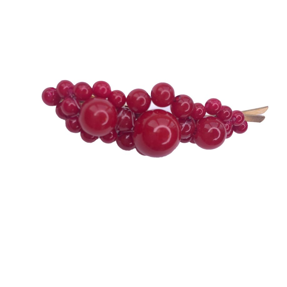 Große Perlen Haarspange rot oval