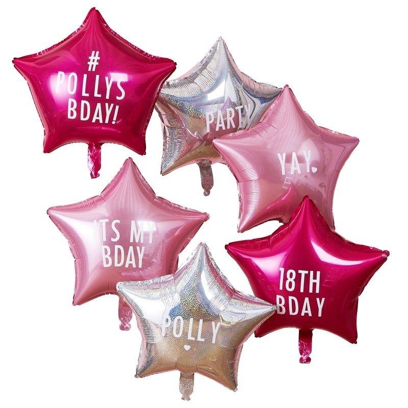 Folien Luftballon Set Sterne 6tlg personalisierbar