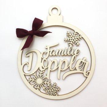 """Holzornament Weihnachtskugel """"Familie"""". die Macherei"""