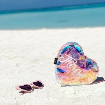 Personalisierte Herztasche 2 Farben irisierend