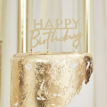 MINI Caketopper Happy Birthday Spiegel Acryl Gold Macherei