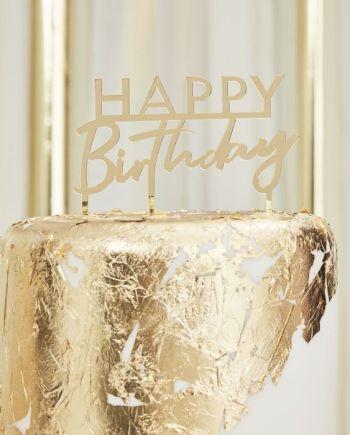 MINI Caketopper Happy Birthday Spiegel Acryl Gold Macherei