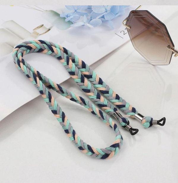 Brillenkette geflochten 3 Farben Mint Blush