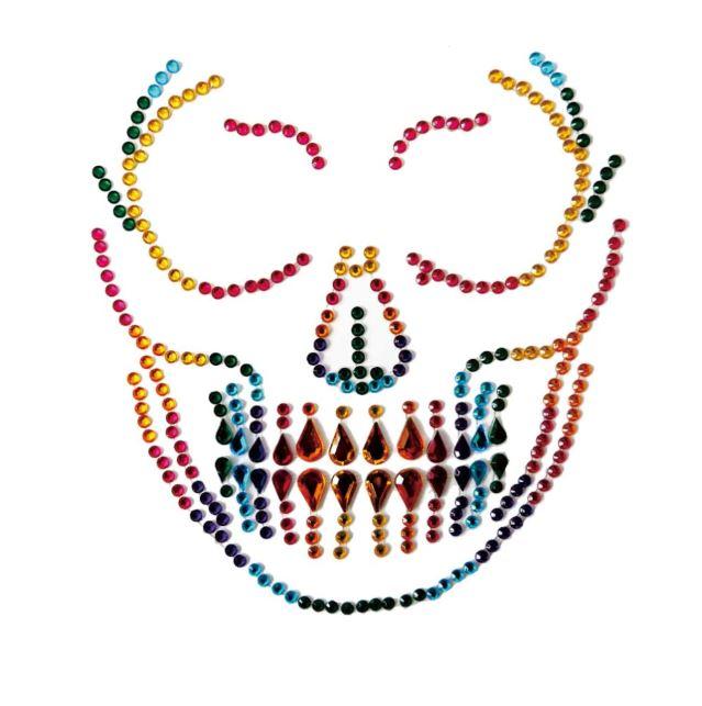 Gesicht Aufkleber Rainbow Skull
