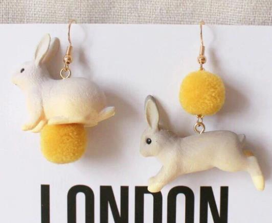 Osterohrringe Bunny Pom Gelb