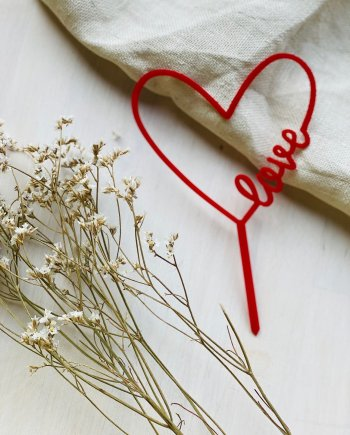 Caketopper Herz Love Acryl Rot