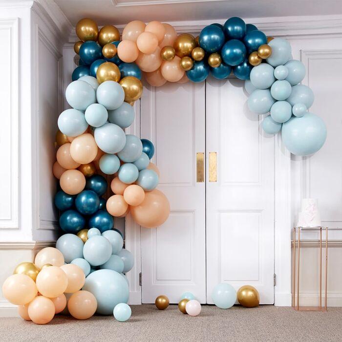 Ballongirlande Blau Gold