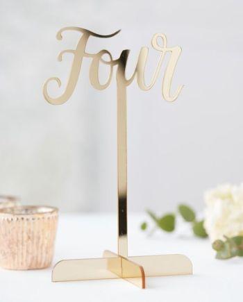 Tischnummer Spiegel Acryl Gold
