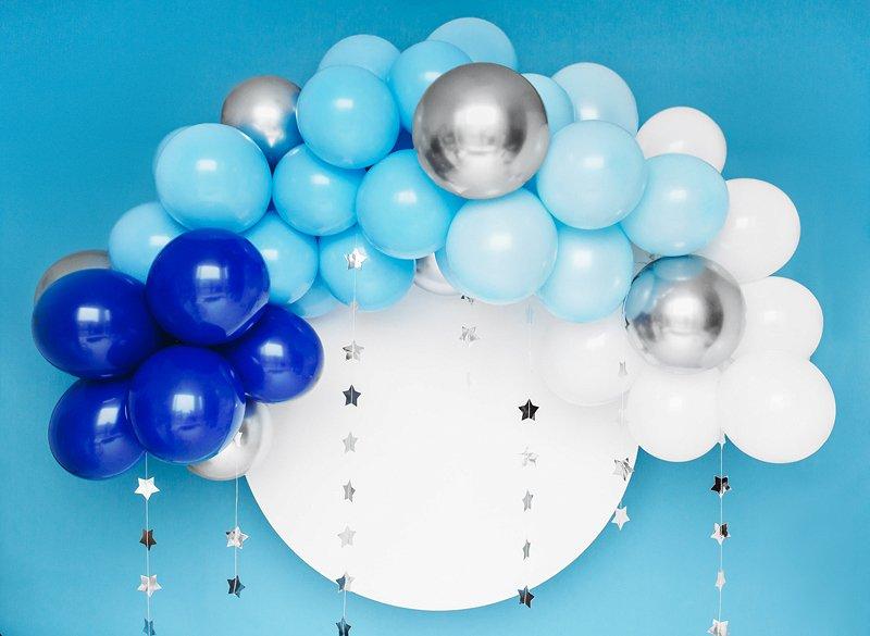 Ballongirlande silber blau weiß Mix
