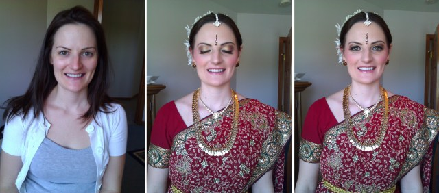 chicago south asian hair and makeup artist, before and after