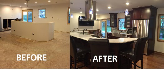 Kitchen Remodeling in Progress with Before and After