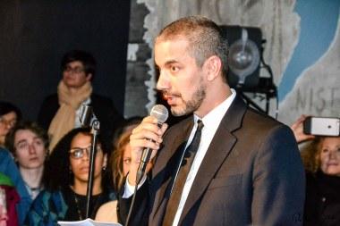 Adrian Notz bei der Eröffnung des Dada-Jahres am 5. Februar. Foto: Flora Jädicke