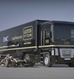 video world record truck trailer jump moving lotus f1 car [ 1384 x 1039 Pixel ]