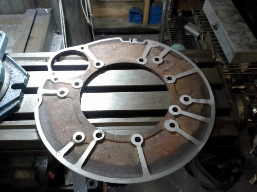 small resolution of dieselxj designed a bellhousing adapter plate left for his cherokee conversion he also drilled and tapped right new holes in the fly wheel to make it