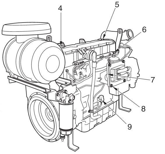 Component Location of Volvo TAD734GE Engine