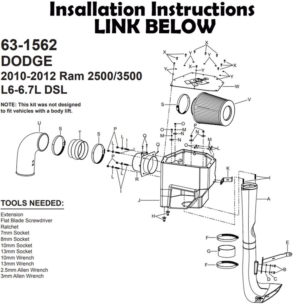 63-1562 K&N PERFORMANCE AIR INTAKE SYSTEM