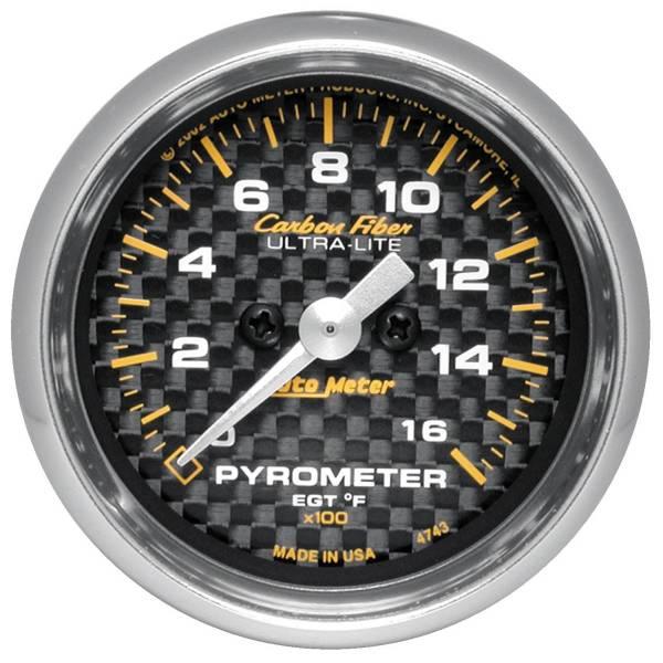 Autometer #4744 Gauge; Pyrometer Egt ; 2 1 16in.; 1600deg. Stepper Motor; Carbon Fiber