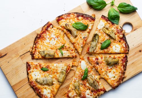 Image result for Low-Carb Cauliflower Pizza with Artichokes