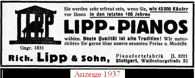 Anzeige Lipp Pianos