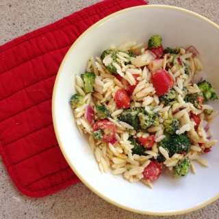 Orzo & Veggie Salad with Hummus Dressing