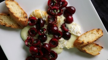 Toasted Baguette with Cherry Salsa & Brie