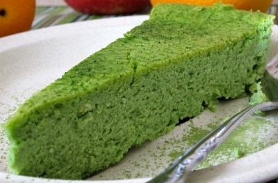 Low Carb Crustless Baked Green Tea Cheesecake Recipe