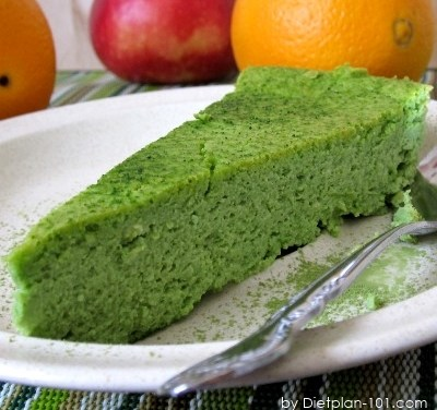 Low Carb Crustless Baked Green Tea Cheesecake Recipe