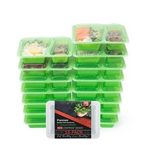 Food Storage Containers 15-PACK Meal Prep Containers Lunch Containers BPA Free Meal Prep Containers Bento Box Set Portion Control Containers for Weight Loss Plastic Food Container 2 Compartments 30 Oz