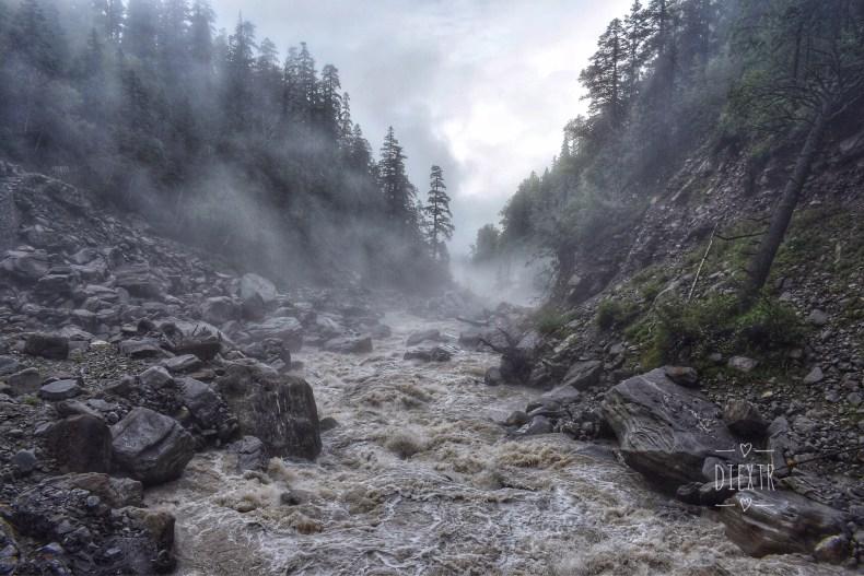 The roaring Laxman Ganga with mist all around