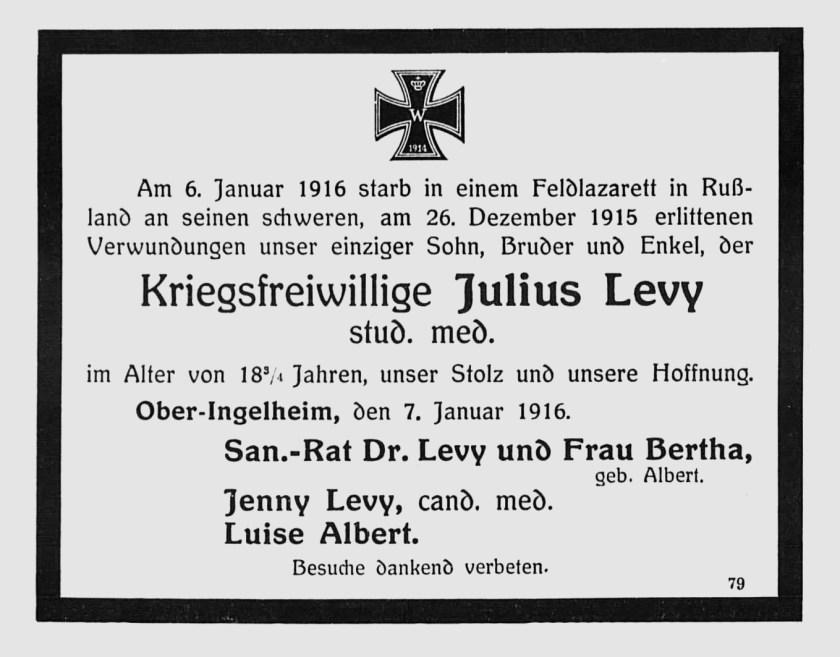 Julius Levi, Todesanzeige Januar 1916
