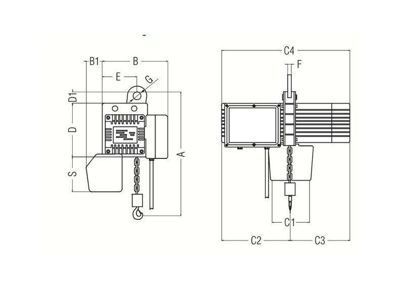 Paranchi elettrici a catena 400V 50Hz con asola di