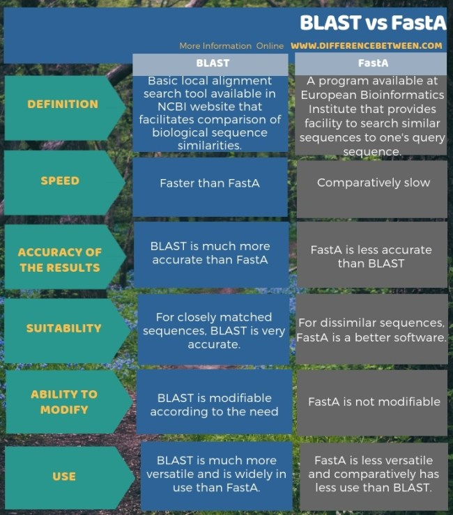 Difference Between BLAST and FastA in Tabular Form