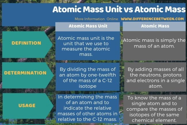 Difference Between Atomic Mass Unit and Atomic Mass in Tabular Form