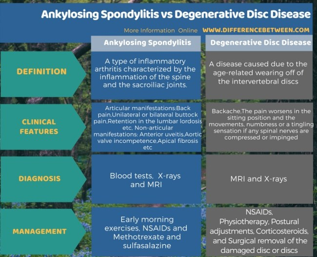 Difference Between Ankylosing Spondylitis and Degenerative Disc Disease in Tabular Form