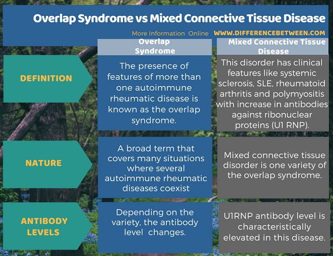 Difference Between Overlap Syndrome and Mixed Connective Tissue Disease in Tabular Form