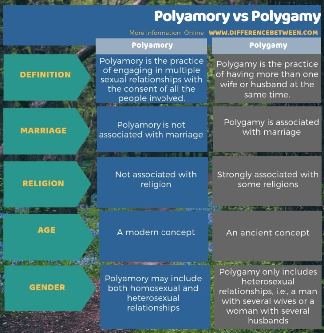 Difference Between Polyamory and Polygamy in Tabular Form