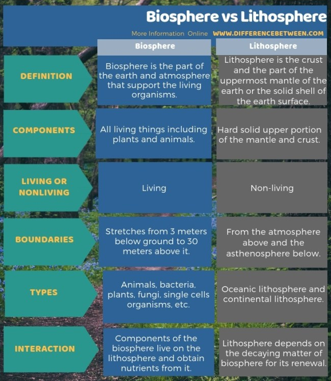 Difference Between Biosphere and Lithosphere in Tabular Form