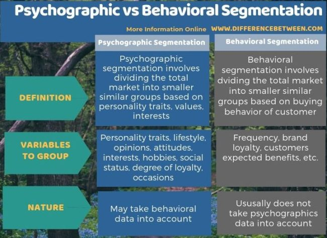 Difference Between Psychographic Segmentation and Behavioral Segmentation in Tabular Form