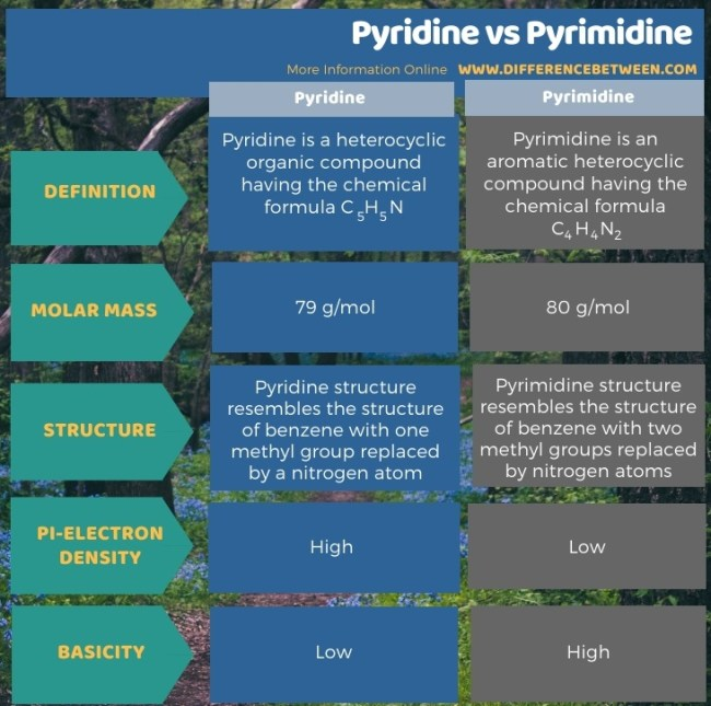 Difference Between Pyridine and Pyrimidine in Tabular Form