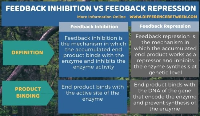 Difference Between Feedback Inhibition and Feedback Repression in Tabular Form