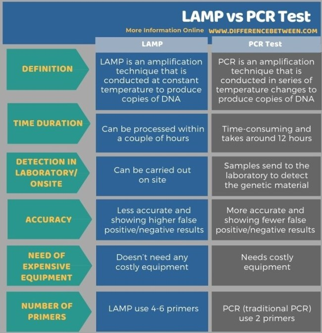 Difference Between LAMP and PCR Test in Tabular Form