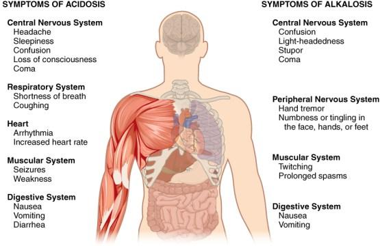 metabolic acidosis vs metabolic alkalosis in tabular form