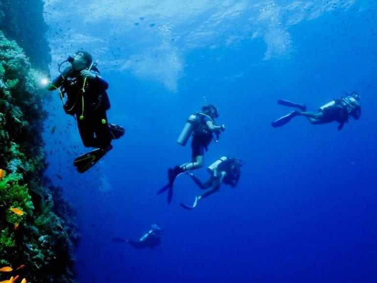 Un plongeur observe un tombant pendant que la palanquée se dirige vers le large