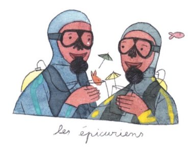 Illustration de Sara Quod représentant deux plongeurs de profil épicuriens