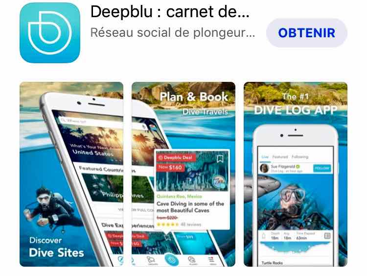 Capture d'écran de l'application Deepblu