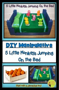 "Create an interactive learning toy to use with the ""Five Little Monkeys Jumping On The Bed"". Cheap and easy to make with DIY directions."