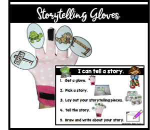 Storytelling gloves offer support in retelling a story. A wonderful visual to cue recall of story elements.