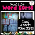 Print and go word sorts. Long and short vowel word sorts.